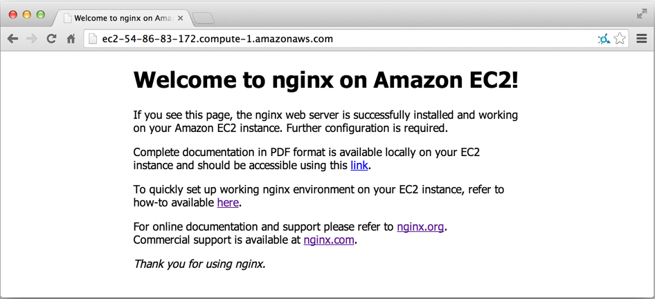Screenshot of the default index.html page for an NGINX Plus AMI on Amazon EC2