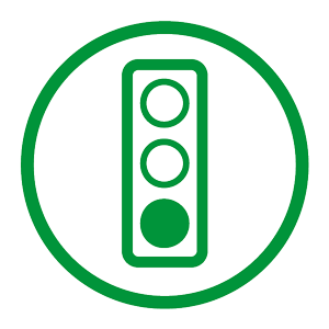 Icon of a green traffic light representing traffic management