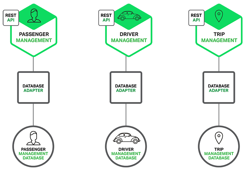 Database architecture in sample microservices application for ride service