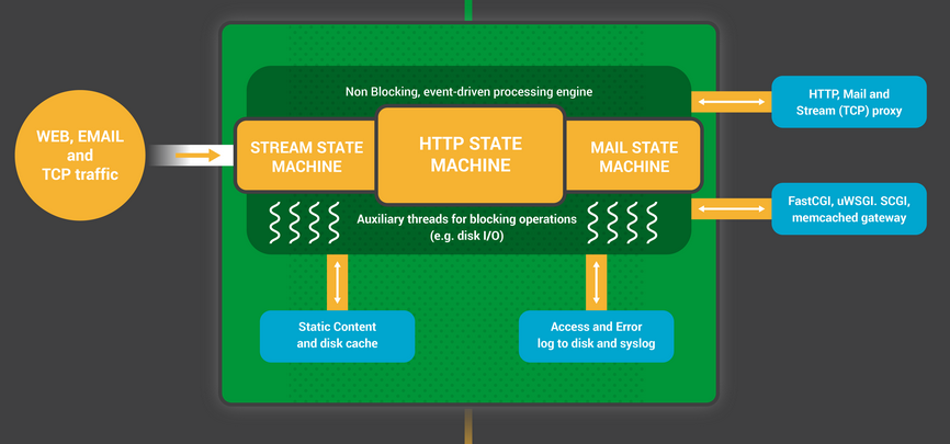 The NGINX worker process is a nonblocking, event-driven engine for processing requests from web clients.