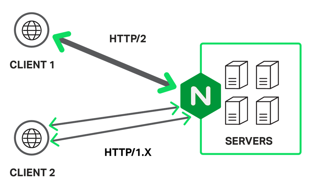 HTTP/2 implemented at server level supports browsers for both HTTP/2 and HTTP/1.x