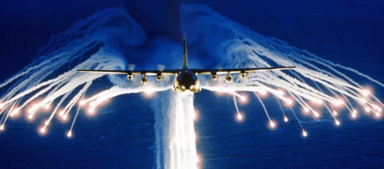C-130 Hercules shooting flares