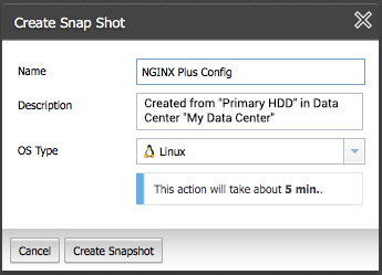 Create a snapshot of the primary NGINX Plus instance in ProfitBricks