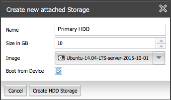 Allocate storage for the primary NGINX Plus instance in ProfitBricks