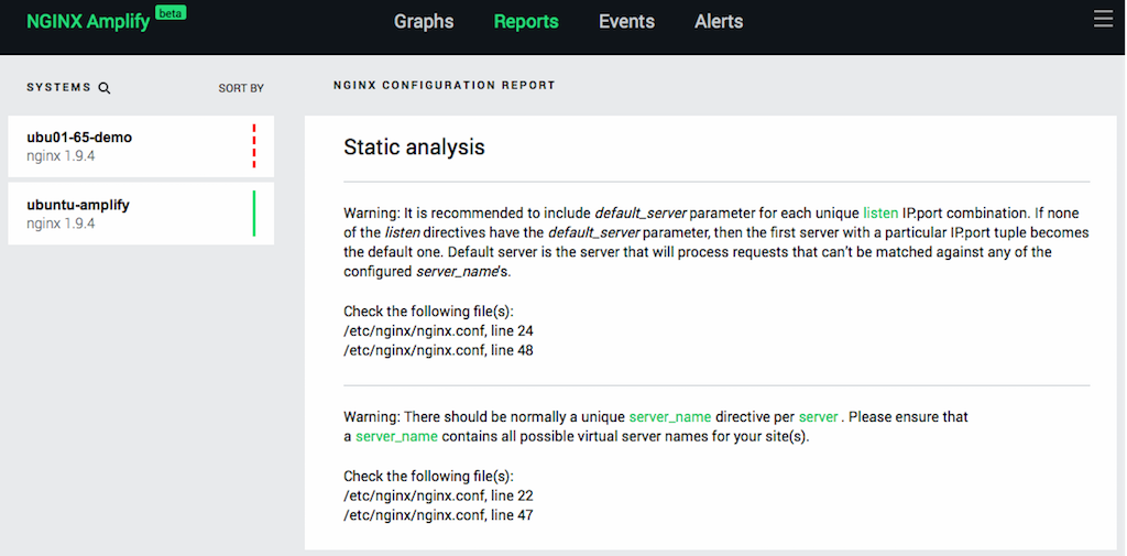 NGINX Amplify provides configuration advice as well as monitoring NGINX in real time