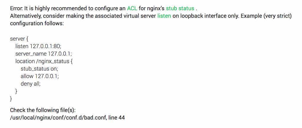 NGINX Amplify recommends restricting access to stub_status