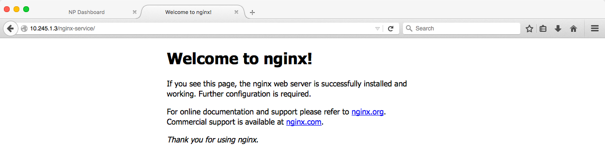 The welcome page confirms that NGINX Plus is load balancing our Kubernetes services