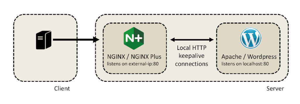 NGINX or NGINX Plus serves as a proxy for WordPress and Apache httd servers in a microcaching test
