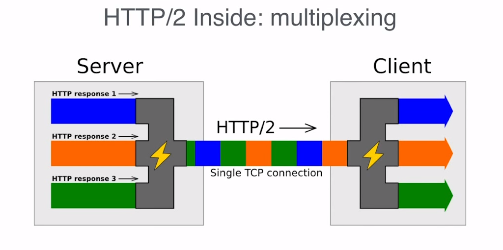 HTTP/2 multiplexes requests and responses over a single connection
