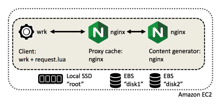 Amazon EC2 t2.small instance with local SSD storage and two large magnetic EBS block devices, used to test NGINX cache placement strategies