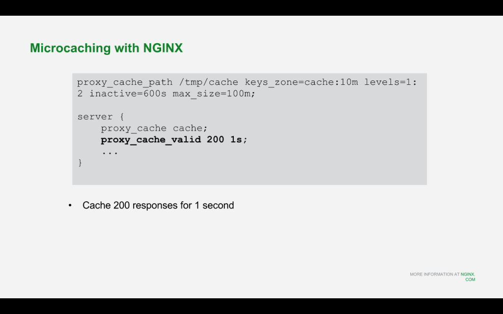 Use the 'proxy_cache_valid' directive to enable microcaching for drupal 8 [NGINX webinar about Drupal 8 performance, Feb 2016]