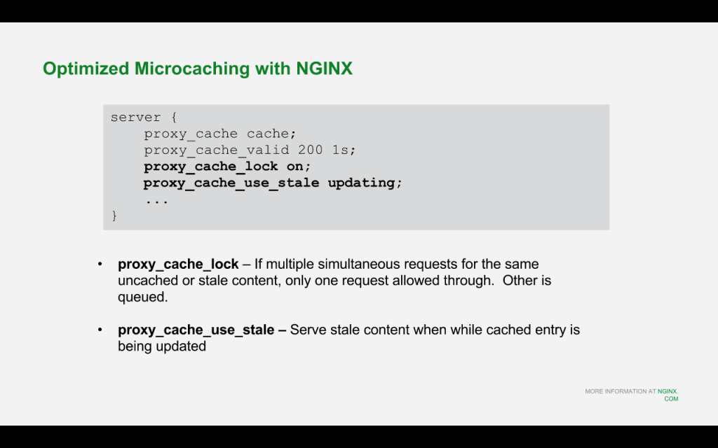 To optimize the performance of microcaching for drupal 8 with nginx, use the 'proxy_cache_lock' and 'proxy_cache_use_stale' directives [NGINX webinar about Drupal 8 performance, Feb 2016]