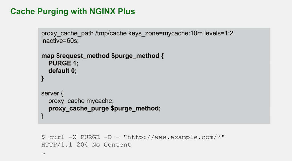 To enable purging of a specified class of files from the NGINX Plus cache, use the 'proxy_cache_purge' directive