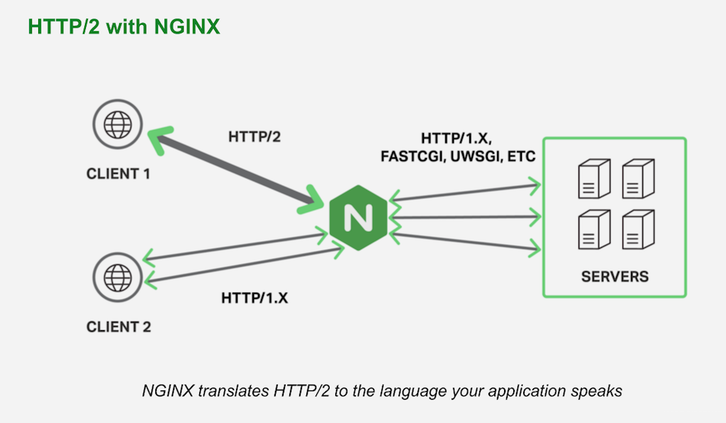 NGINX and NGINX Plus for Drupal 8 support HTTP/2 client traffic and translate to HTTP/1 or any other CGI-like protocol your Drupal server uses