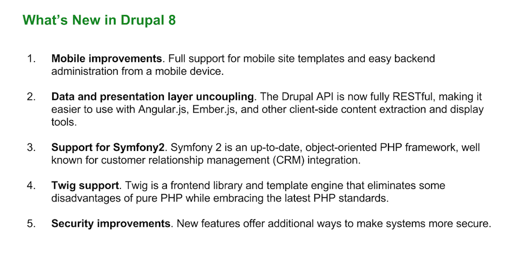 New features in Drupal 8 for NGINX include better support for mobile users, a fully RESTful API, support for Symfony 2 and Twig, and security improvements