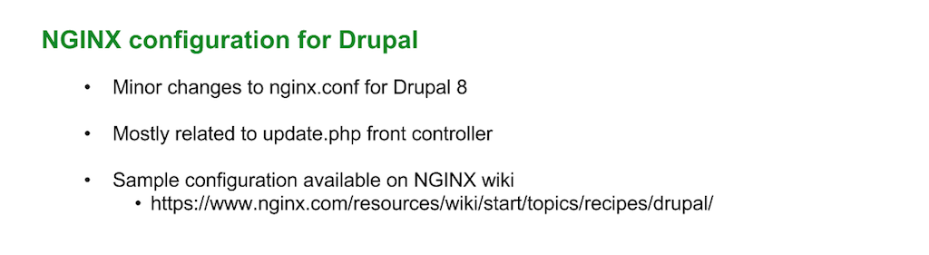 When upgrading to Drupal 8, you need to change the NGINX configuration slightly, mostly for the update.php front controller