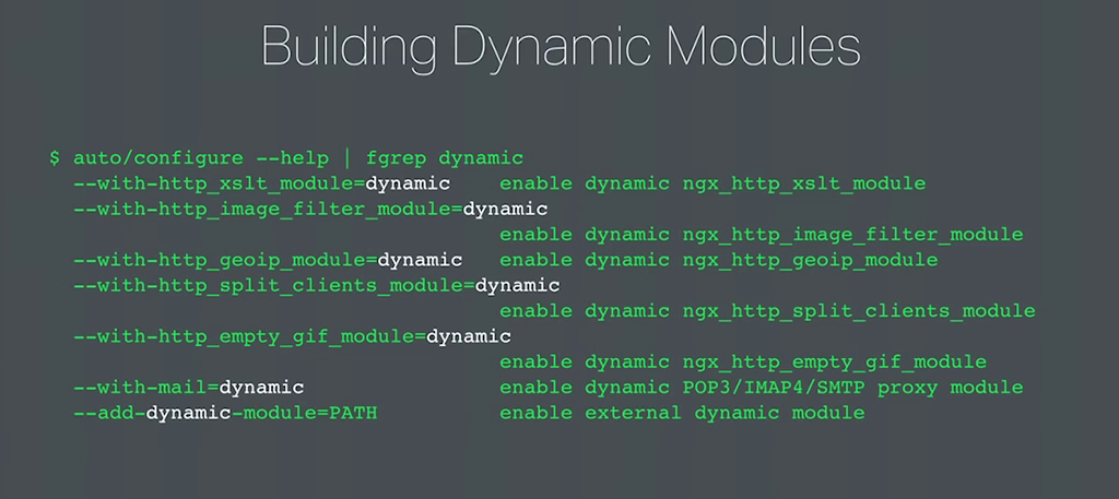 The syntax for building dynamic modules extends the static syntax