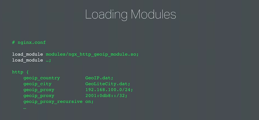 he new load_module directive in the NGINX configuration file names each module to be loaded dynamically