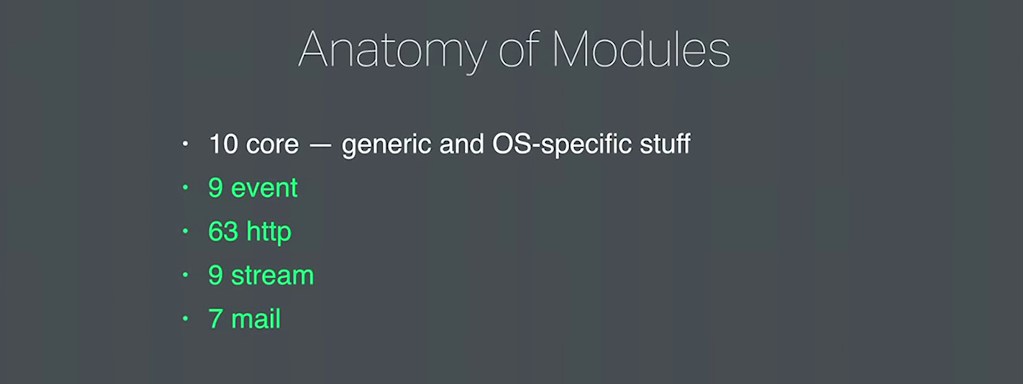 There are 10 core modules that implement generic types and objects, memory management, hashing, configuration file  parsing, logging, OS functions