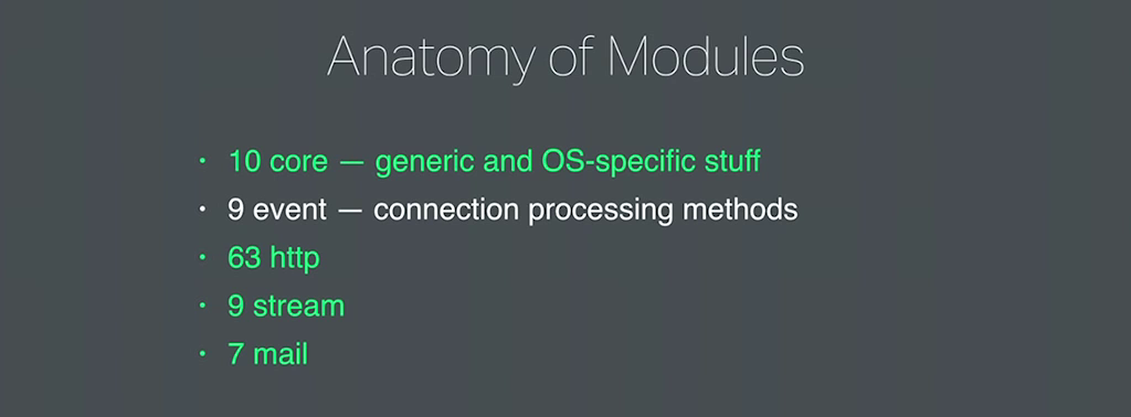 There are 9 event modules that implement connection processing on a per-platform basis