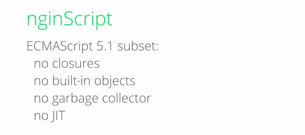 The current implementation of nginScript is a subset of ECMAScript 5.1