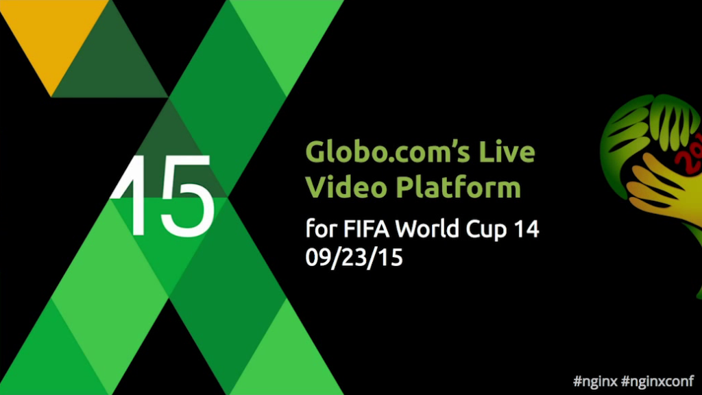 Title slide for presentation at nginx.conf 2015: Globo.com's Live Video Streaming Platform for FIFA World Cup 14