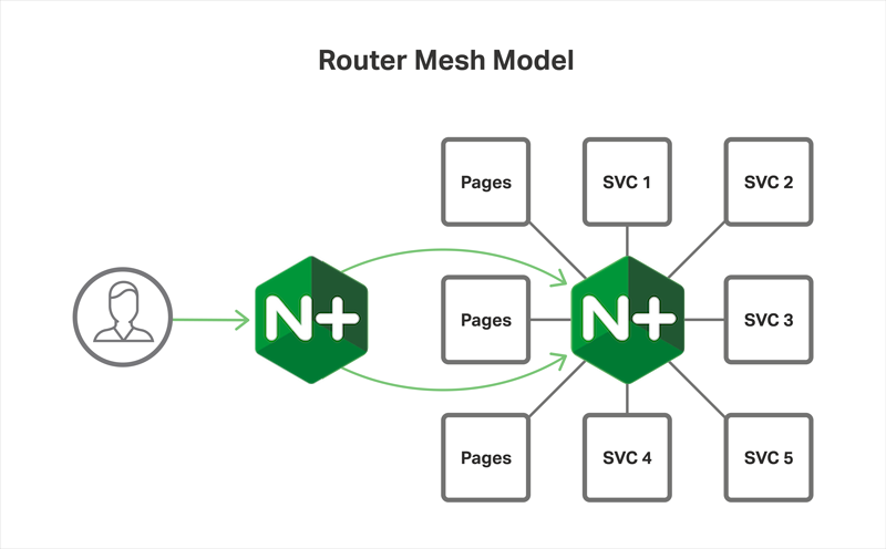 In the Router Mesh Model of the Microservices Reference Architecture from NGINX, NGINX Plus runs on each server to load balance the microservices running there, and also on frontend servers to reverse proxy and load balance traffic to the application servers with service discovery
