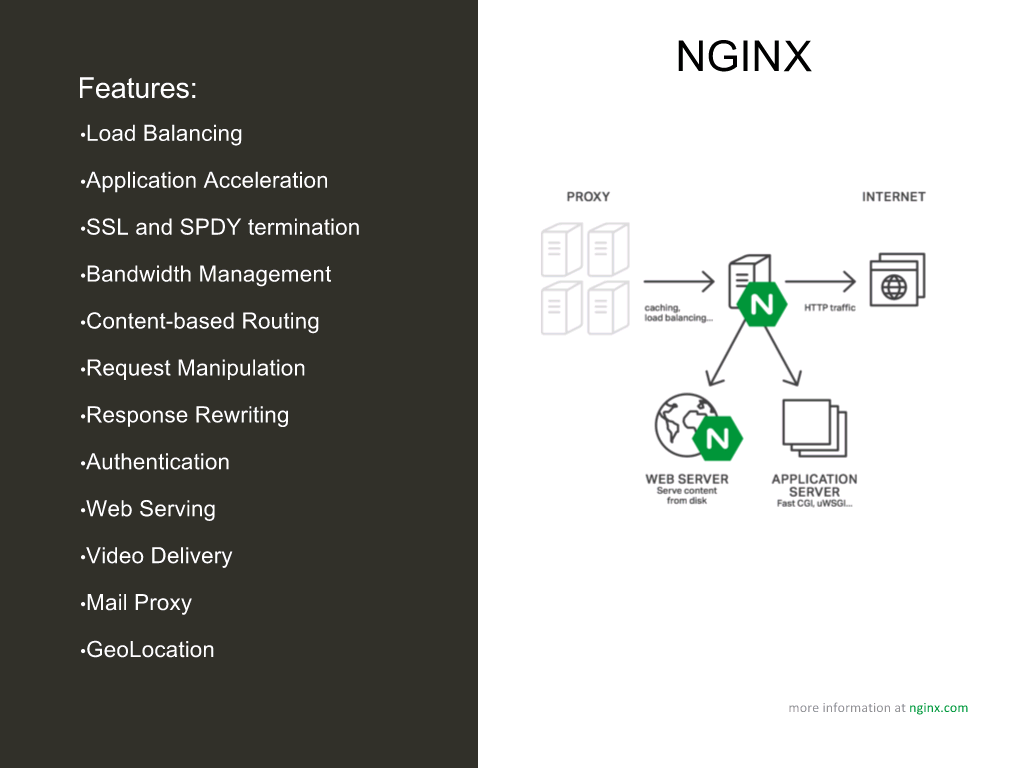 NGINX and NGINX Plus provide many functions including load balancing, application acceleration, SSL and HTTP/2 termination, bandwidth management, content-based routing, request manipulation, response rewriting, authentication, web serving, video delivery, mail proxy, and geolocation [NGINX webinar about connecting applications with NGINX and Docker to include the microservices architecture and load balancing, Apr 2016]