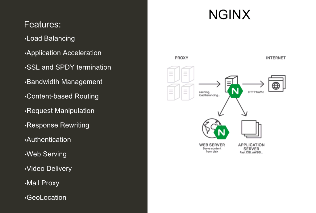 NGINX and NGINX Plus provide many functions including load balancing, application acceleration, SSL and HTTP/2 termination, bandwidth management, content-based routing, request manipulation, response rewriting, authentication, web serving, video delivery, mail proxy, and geolocation