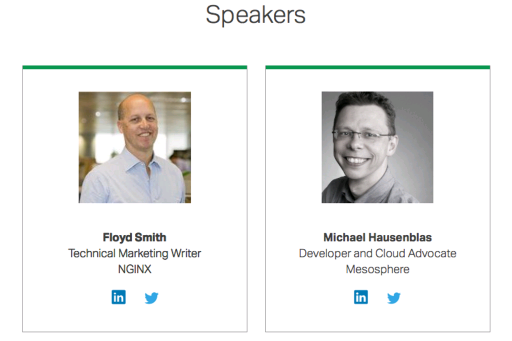 Photos of presenters: Floyd Smith from NGINX and Michael Hausenblas of Mesosphere