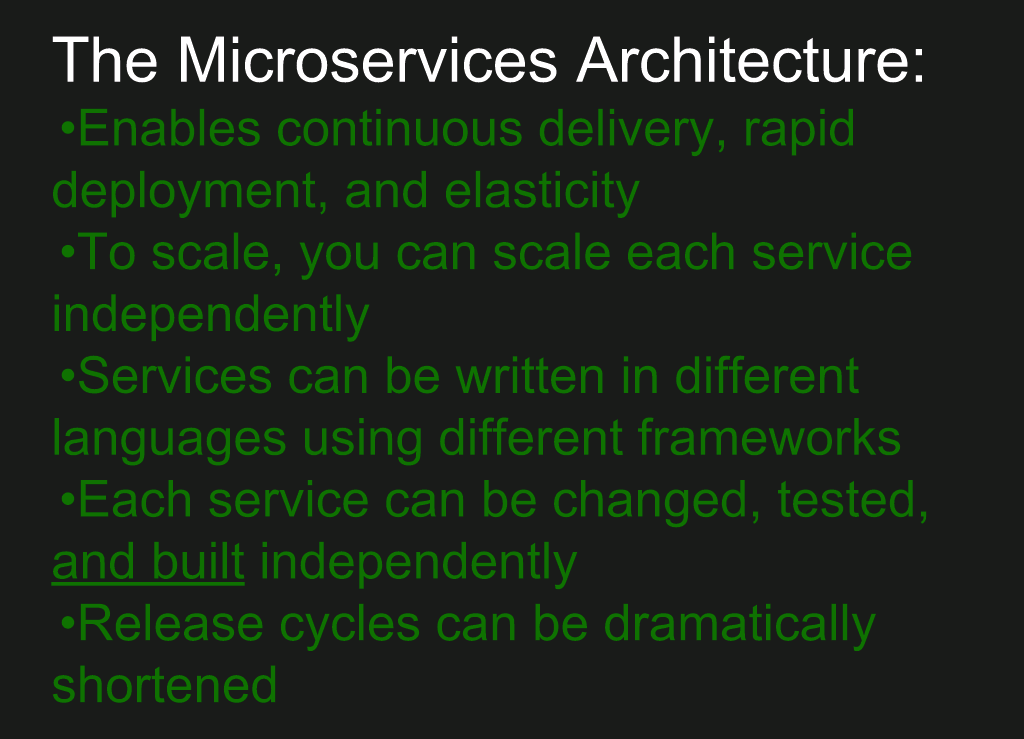 Implications of a microservices architecture include: enabling continuous delivery and rapid deployment; independent scaling, build, testing of each microservice; each microservice written in the best language for it; shorter release cycles