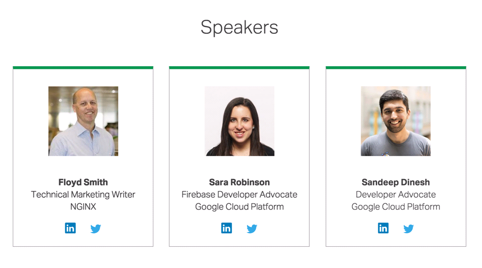 "Photos of speakers: Floyd Smith of NGINX, Sarah Robinson and Sandeep Dinesh of Google Cloud Platform [webinar ""Deploying NGINX Plus & Kubernetes on Google Cloud Platform"" includes information on how switching from a monolithic to microservices architecture can help with application delivery and continuous integration - broadcast 23 May 2016]"
