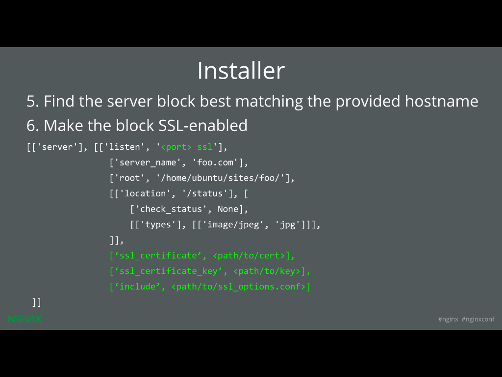 Next, the certificate needs to be installed for website security through HTTPS [presentation given by Yan Zhu and Peter Eckersley from the Electronic Frontier Foundation (EFF) at nginx.conf 2015]