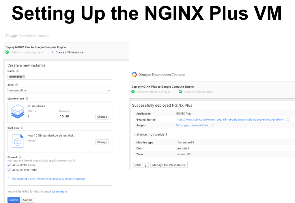 "Screen shot of Cloud Launcher page for creating an NGINX Plus instance on GCP [webinar ""Deploying NGINX Plus & Kubernetes on Google Cloud Platform"" includes information on how switching from a monolithic to microservices architecture can help with application delivery and continuous integration - broadcast 23 May 2016]"