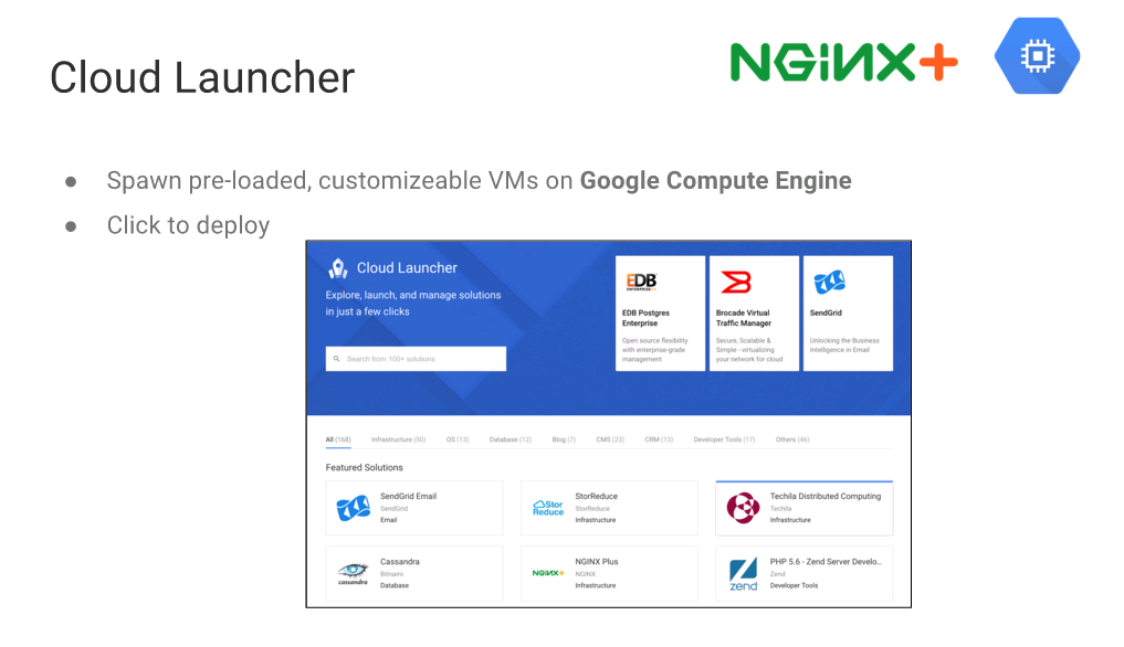 "With Cloud Launcher you can spawn preloaded, customizable VMs to run on Google Compute Engine [webinar ""Deploying NGINX Plus & Kubernetes on Google Cloud Platform"" includes information on how switching from a monolithic to microservices architecture can help with application delivery and continuous integration - broadcast 23 May 2016]"