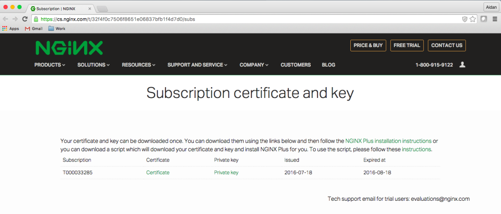 NGINX Plus free trial activation page with subscription certificate and key for NGINX reverse proxy and web server
