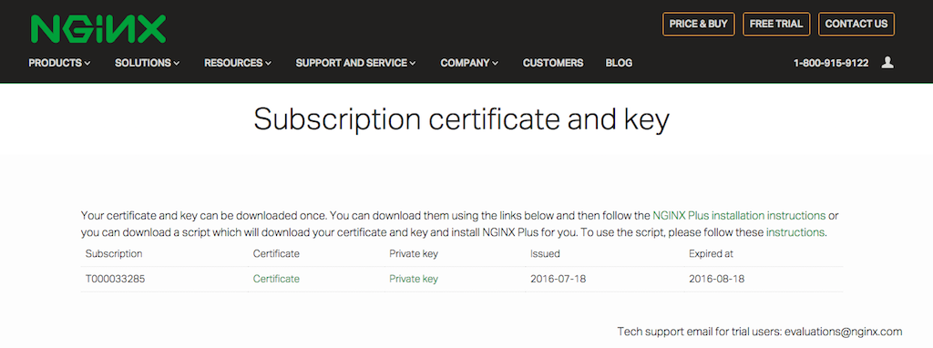 GINX Plus free trial activation page with subscription certificate and key for NGINX reverse proxy and web server
