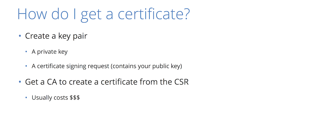 To obtain a security certificate, create a private key and a certificate signing request (CSR) and present them to a CA, which usually charges a fee to provide website security through HTTPS [presentation by Nick Sullivan of CloudFlare at nginx.conf 2015]