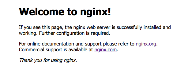 The welcome page confirms that your NGINX reverse proxy and web server is up and running