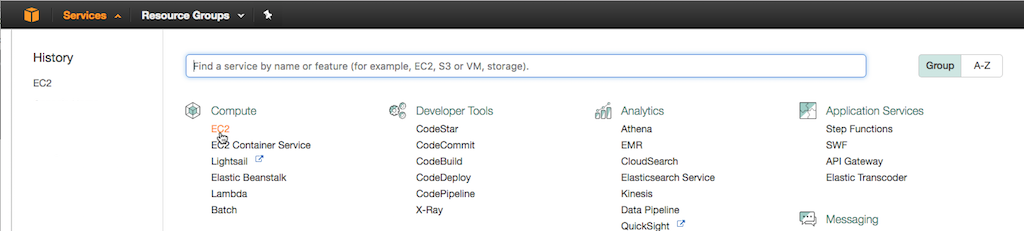 Screenshot of selecting EC2 on the service-selection page of the AWS Management Console