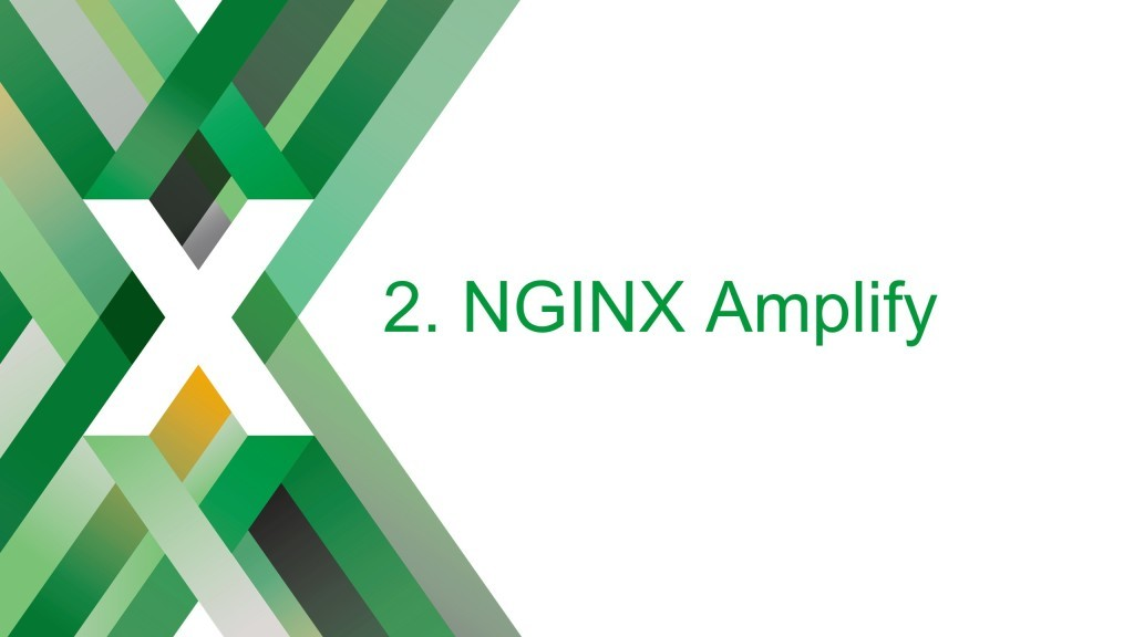 Section title slide reading 'NGINX Amplify'. Amplify is a tool developed to help figure how to monitor NGINX [keynote presentation by NGINX Head of Products Owen Garrett at nginx.conf2016]