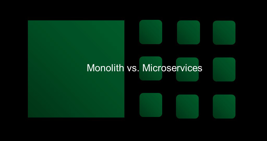 Slide reads 'Monolith vs. Microservices'