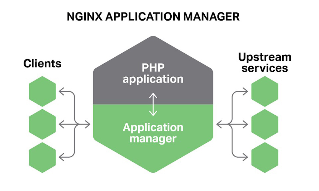 The NGINX Application Manager embeds NGINX features inside applications