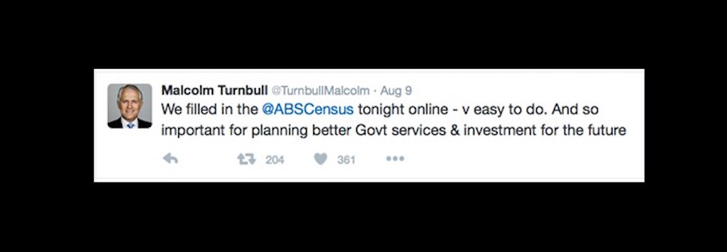 Prime Minister tweets about filling out the Australian census
