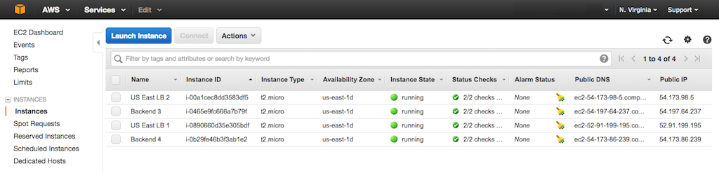Screenshot showing newly created EC2 instances in one of two regions, which is a prerequisite to configuring AWS GSLB (global server load balancing) with NGINX Plus