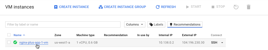 Screenshot showing how to access the page where configuration details for a VM instance can be modified during deployment of NGINX Plus as the Google Cloud load balancer.