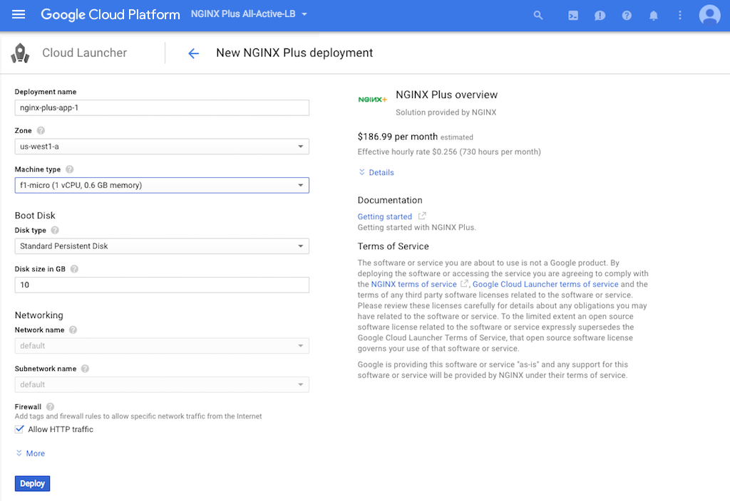 Screenshot of the Cloud Launcher page for creating a prebuilt NGINX Plus VM instance when deploying NGINX Plus as the Google Cloud Platform load balancer.