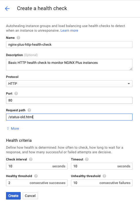 Screenshot of the interface for creating a health check in Google Compute Engine (GCE), which Google network load balancer uses to monitor NGINX Plus as the Google cloud load balancer.