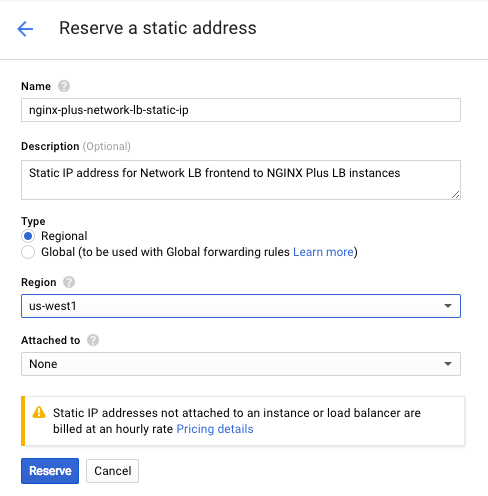 Screenshot of the interface for reserving a static IP address for Google Compute Engine network load balancer.