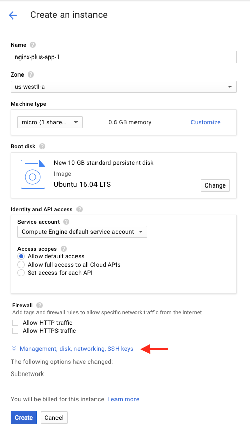 Screen shot of the 'Create an instance' page for an application server in the deployment of NGINX Plus as the Google Cloud Platform load balancer.